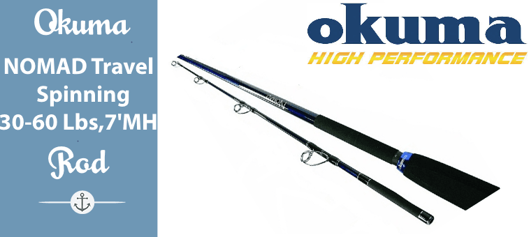 Okuma NOMAD Travel Spinning Rod 30 -60 Lbs 7 Feet MH Featured