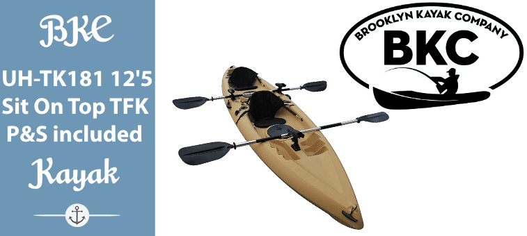 BKC UH-TK181 12.5 foot Sit On Top Tandem Fishing Kayak Paddles and Seats included Featured