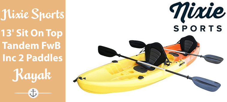 Nixie Sports 13ft Sit On Top Tandem Fishing Kayak With Backrests – Inc 2 Paddles Featured